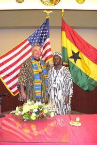 Courtesy Photo/ Evergreen Implement - Former mayor Shannon McKay and Dr. Kwesi Osei-Bonsu